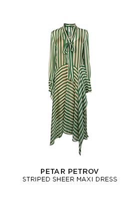 A green and white stripe sheer hanky hem maxi dress by Petar Petrov