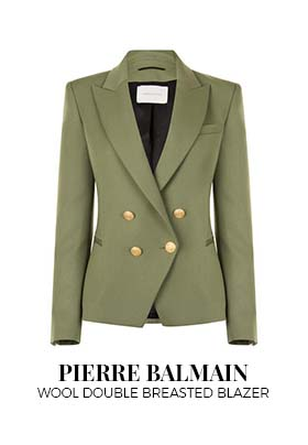 Khaki green Pierre Balmain wool double breasted blazer