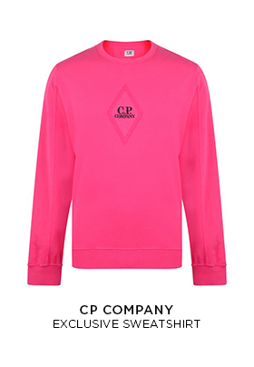 FLANNELS X C.P Company pink exclusive sweatshirt with a black C.P. Company embroidered logo