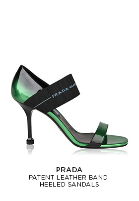 Prada patent leather band heeled sandals