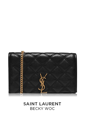 A Saint Laurent Becky quilted black leather bag with a gold chain strap and gold YSL metal logo