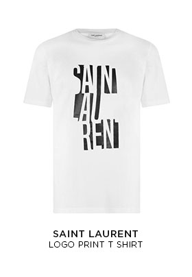 SAINT LAURENT WHITE LOGO PRINT T-SHIRT