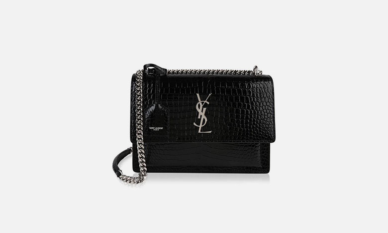 A Saint Laurent black mock croc leather boxy Sunset bag with a YSL clasp