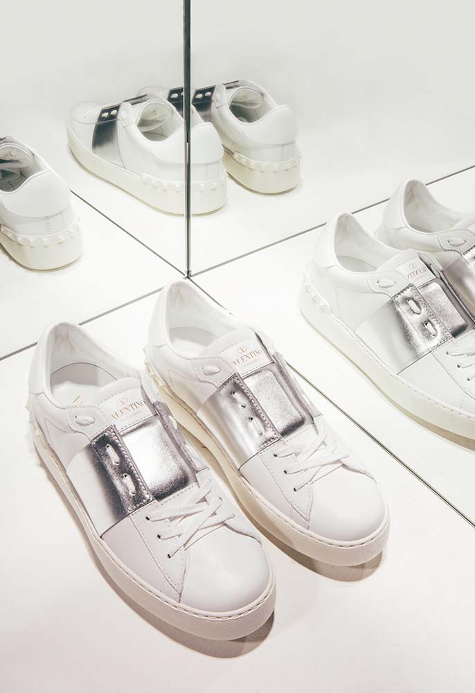 White Valentino Open Trainers with Silver Detailing