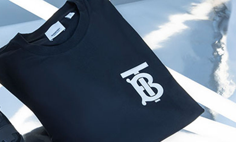 A black crew neck Burberry Emerson TB logo T-shirt