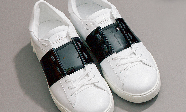 Valentino Open Band black and white trainers
