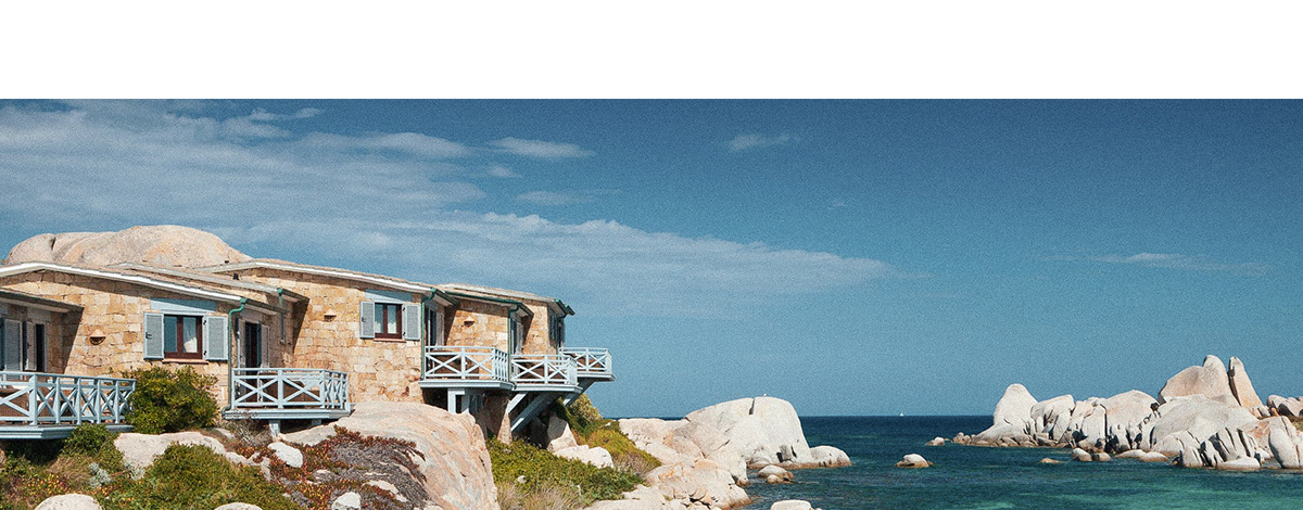 Hotel & Spa des Pêcheurs and the Mediterannean sea on the island of Cavallo, Corsica, France