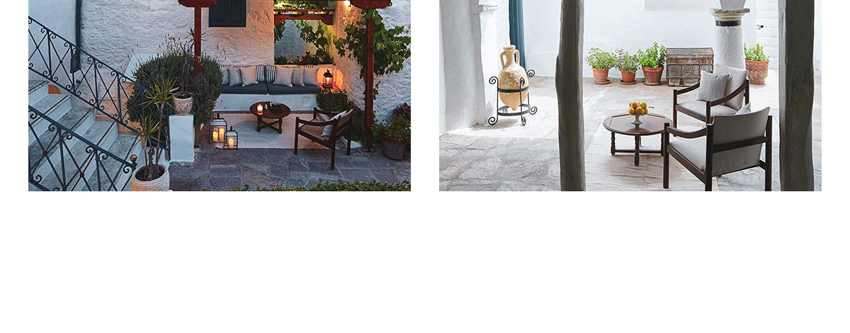The courtyard at the Orloff, a boutique hotel in Hydra, Greece