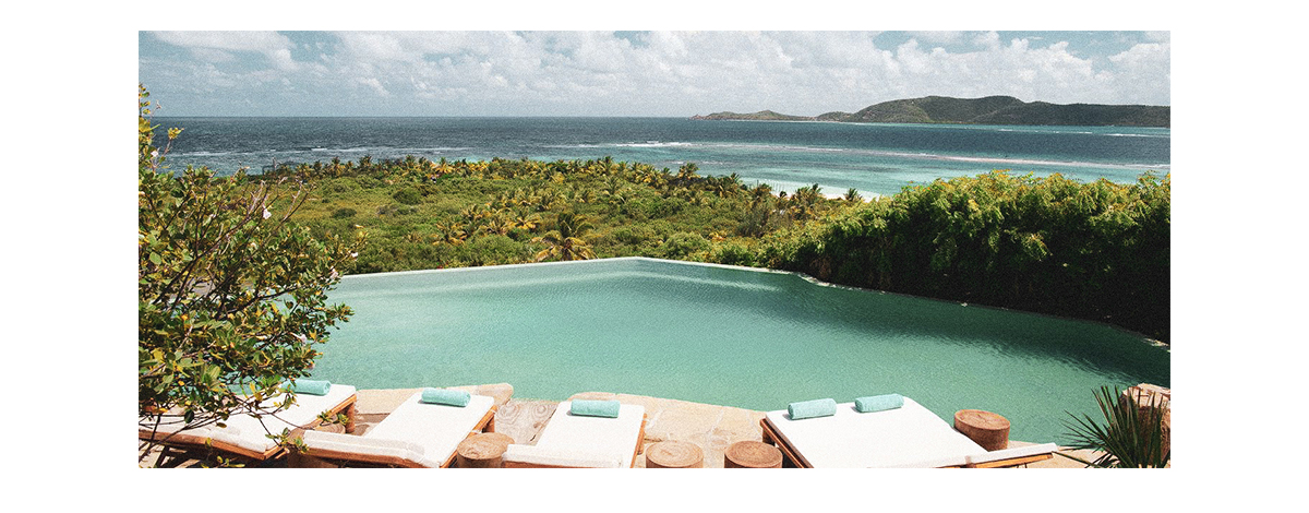 The freeform pool at Richard Branson's private island Necker Island