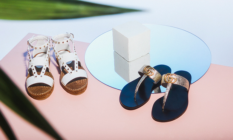 Jimmy Choo espadrille sandals and Gucci logo flip flops