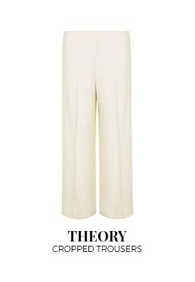 Theory cream cropped trousers