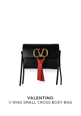 Black and red Valentino small cross body bag with the new V ring logo