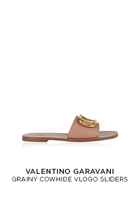 Valentino pale pink grainy leather Vlogo sliders
