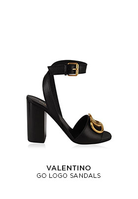 Valentino Go logo black leather sandals with a mid to tall block heel