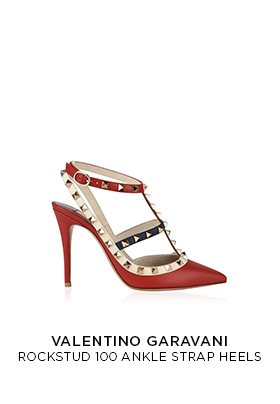 Valentino rockstud 100 ankle strap heels in red, white and navy clue leather
