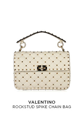Valentino cream leather Rockstud spike chain bag