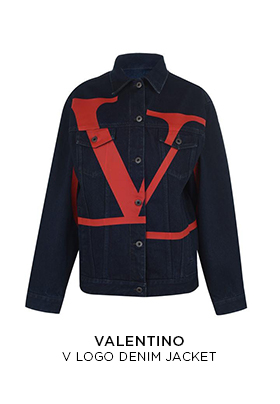 Valentino V logo oversized denim jacket