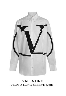 Valentino Go Logo long sleeved white shirt with black graphic logo