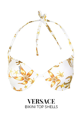 Versace push up Mare Donne bikini top white with shell print