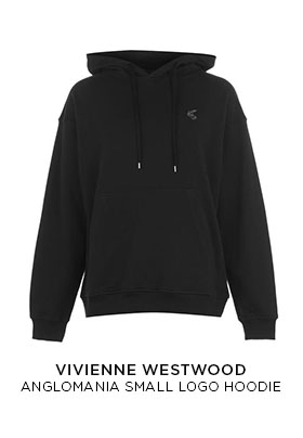 A black Vivienne Westwood hooded sweatshirt with a brush stroke multi-coloured orb logo