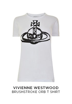 A white Vivienne Westwood crew neck T-shirt with a black brush stroke orb logo on the front