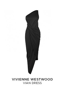 A black Vivienne Westwood ruched sleeveless Vian midi-length dress