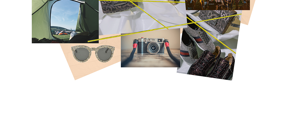A collage of images of festivals including Coachella and a camper van and luxury product by Gucci and Valentino