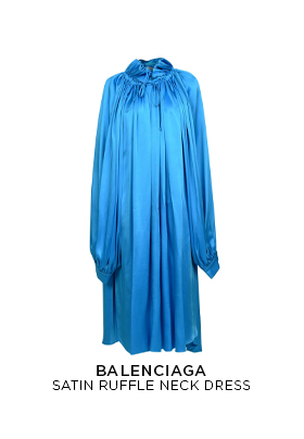 Balenciaga Satin Ruffle Neck Dress