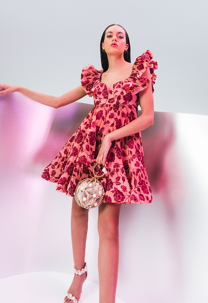 Photograph of female model wearing Zimmermann dress