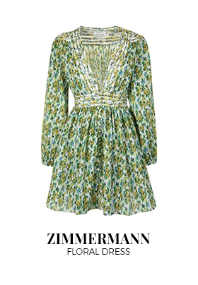 Zimmermann white, blue and yellow golden plisse floral print dress
